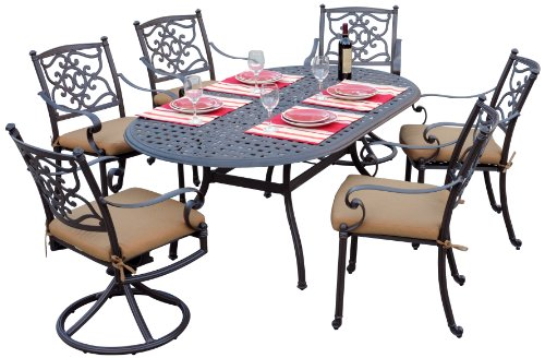 Meadow Décor K7D42-W5448 Kingston 7-Piece Patio Dining Set, 72-Inch, Walnut