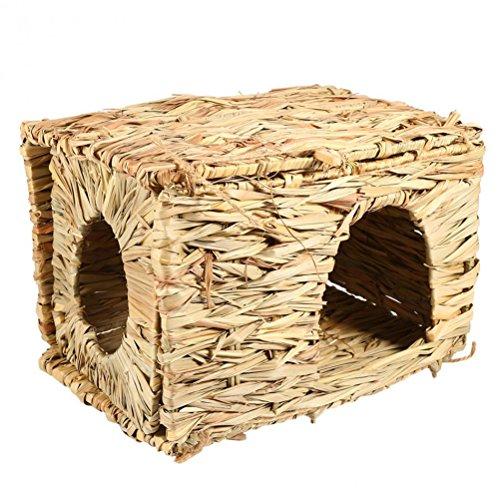 UEETEK Natural Hand-made Grass Hut Bed House Straw Grass Bird Cubby Nest Cage For Bunny Rabbit Hamster Gerbil (Bunny Nest)