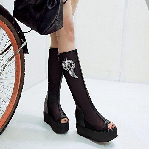 Charm Fot Ny Vår Sommar Womens Knähöga Peep Toe Plattform Boots Svart