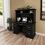 Better Homes and Gardens Black Computer Desk with Hutch Laptop Writing Table Workstation Wood Cabinet