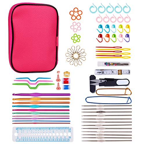 Multi-Size Aluminum Colorful Crochet Hooks Set Comfort Soft Grip Knitting Needles Sewing Household Tool Kit with Case ()