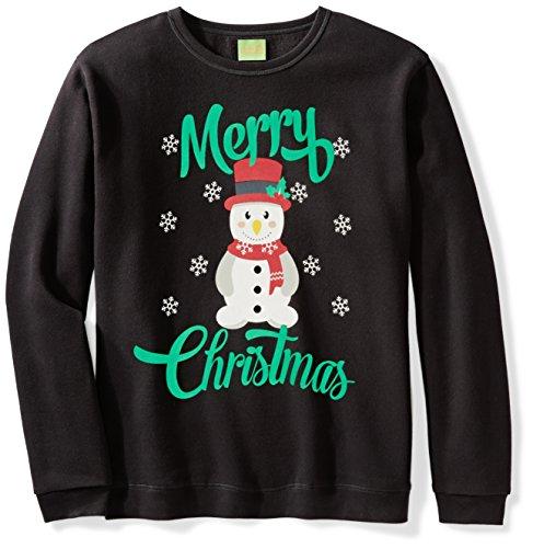 Ugly Fair Isle Unisex Fleece Merry Christmas Snowman Crewneck Sweatshirt Large (Neck Jumper)