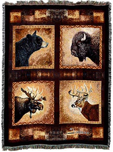 Bears Bear Head - Pure Country Weavers | Big Game Heads Black Bear Moose Buffalo Buck Deer Lodge Cabin Hunting Decor Tapestry Lodge Decor Throw Blanket Cotton 72x54