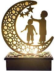 Eid LED Light Wooden Moon Book Light DIY Mubarak Festival Light Lamp Desktop Moon Atmosphere Night Light Muslim Islam Ramadan Party Light