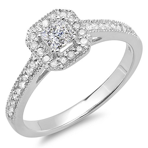 0.50 Carat (ctw) 14K White Gold Princess & Round Diamond Ladies Engagement Ring 1/2 CT (Size 8) Image