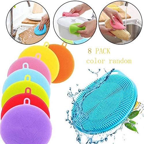 CLRIS 4/8 PackPack Multifunction Silicone Dish Bowl Cleaning Brush Silicone Scouring Pad Silicone Dish Sponge Kitchen Pot Cleaner Washing Tool (8 pack)