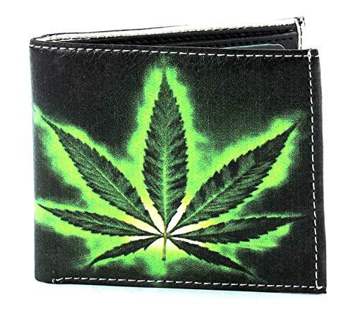Li Men's Marijuana Pot Mary Jane Leaf Print Vegan Vegetable Leather Bi-Fold Wallet With Matching Gift Box - Mary Pot Leaf Jane