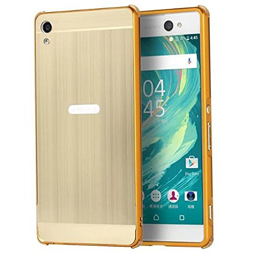 Sony Xperia XA Ultra Case, Ranyi [Brushed Metal Series] Luxury Aluminum Metal Bumper Frame Detachable + Smooth Brushed Hard Back Cover [Slim & Thin] Case for Sony Xperia C6 (gold)