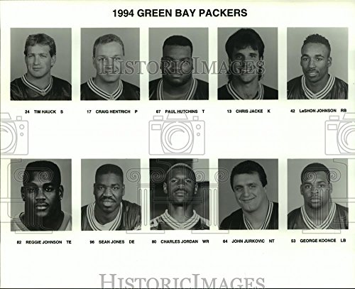 Historic Images 1994 Press Photo Tim Hauck with Green Bay Packers Football Team Player Line Up - 8 x 10 in