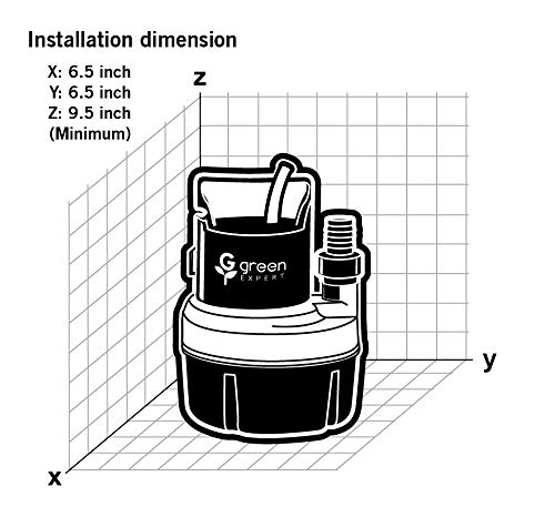 Green Expert 203617 1/6 HP Portable Submersible Utility Pump with 1056 GPH Flow Efficiently for Water Removal Basement Flood Drainage Pump with 3/4'' Adaptor Available for Standard Garden hose by G green EXPERT (Image #7)