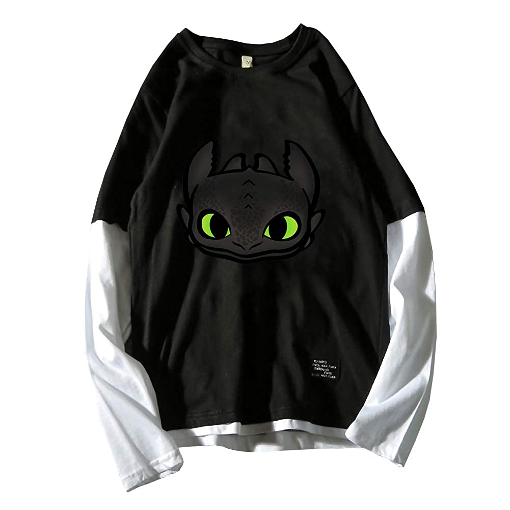 How to Train Your Dragon Long Sleeve T-Shirt Casual Top Pure Cotton Printed Long Sleeve Round Neck Loose T Shirt