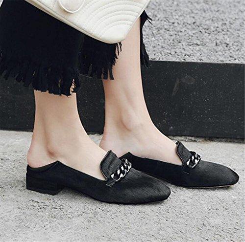 35To41 pour de femmes Boucle Black Taille en Crinière plate Flâneurs Chaussures métal cheval Ballerine d7t1qtU
