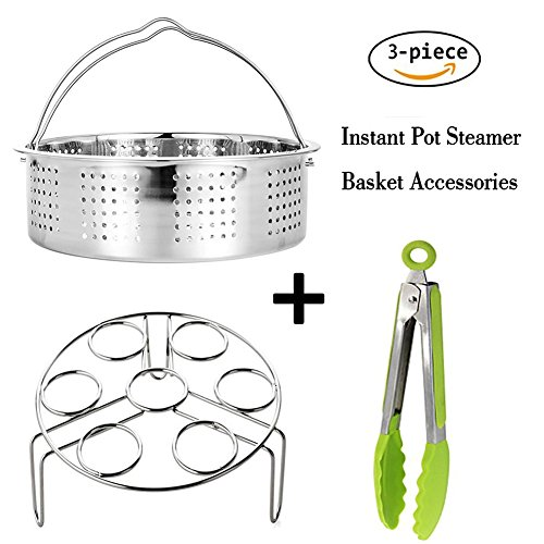 Steamer Basket With Egg Steamer Rack for Instant Pot and Pressure Cooker Accessories, Vegetable Steam Rack Stand,Premium Silicone Kitchen Tongs ,Fits Instant Pot 8 qt Pressure Cooker (Rack Steam Silicone)