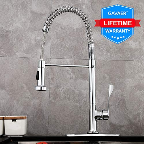 360 Degree Swivel Spout - GAVAER Kitchen Faucet with Pull Down Sprayer, Faucet Made of Leed-Free Brass, Anti-Corrosion, Anti-Spot, Anti-Rust, 360 Degree Swivel Spout Hot and Cold Water Kitchen Sink Faucet with Deck Plate.