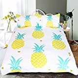 Sleepwish Pineapple Bedding Kawaii Duvet Cover 3 Piece Tropical Hawaiian Pineapple Print Pattern Duvet Cover Set for Boys Girls Adults (Twin)