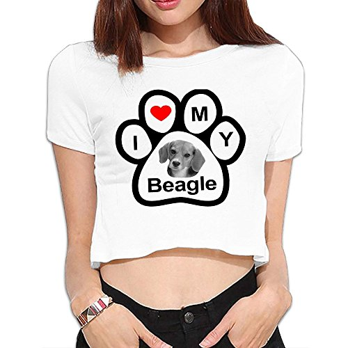 I Love My Beagle Dog Bone Womens Crop Tops T Shirts ()