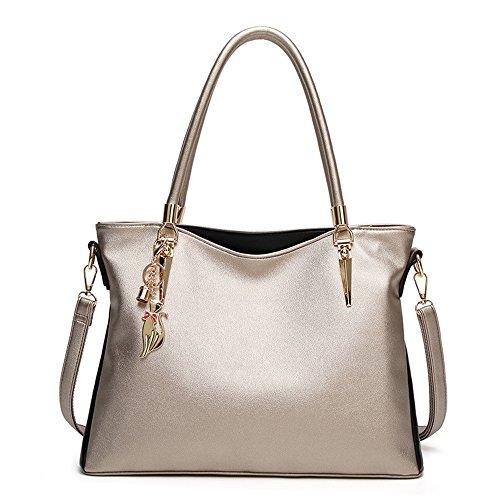 Meaeo Simple black Bag Shoulder Silvery Cross Tote Handbag rwHBvxrq7