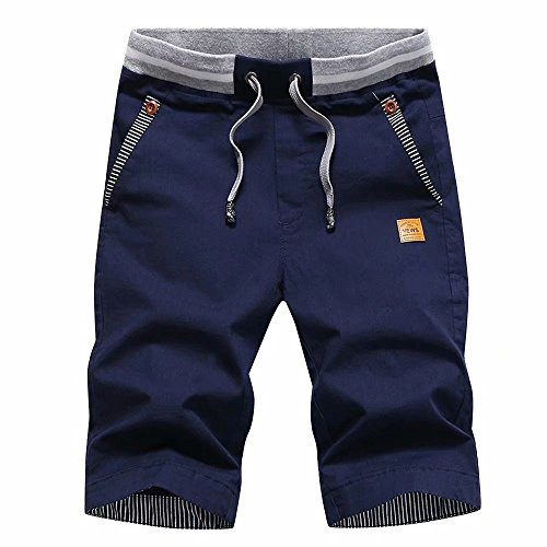 (STICKON Men's Shorts Casual Classic Fit Drawstring Summer Beach Shorts with Elastic Waist and Pockets (Navy Blue, US)
