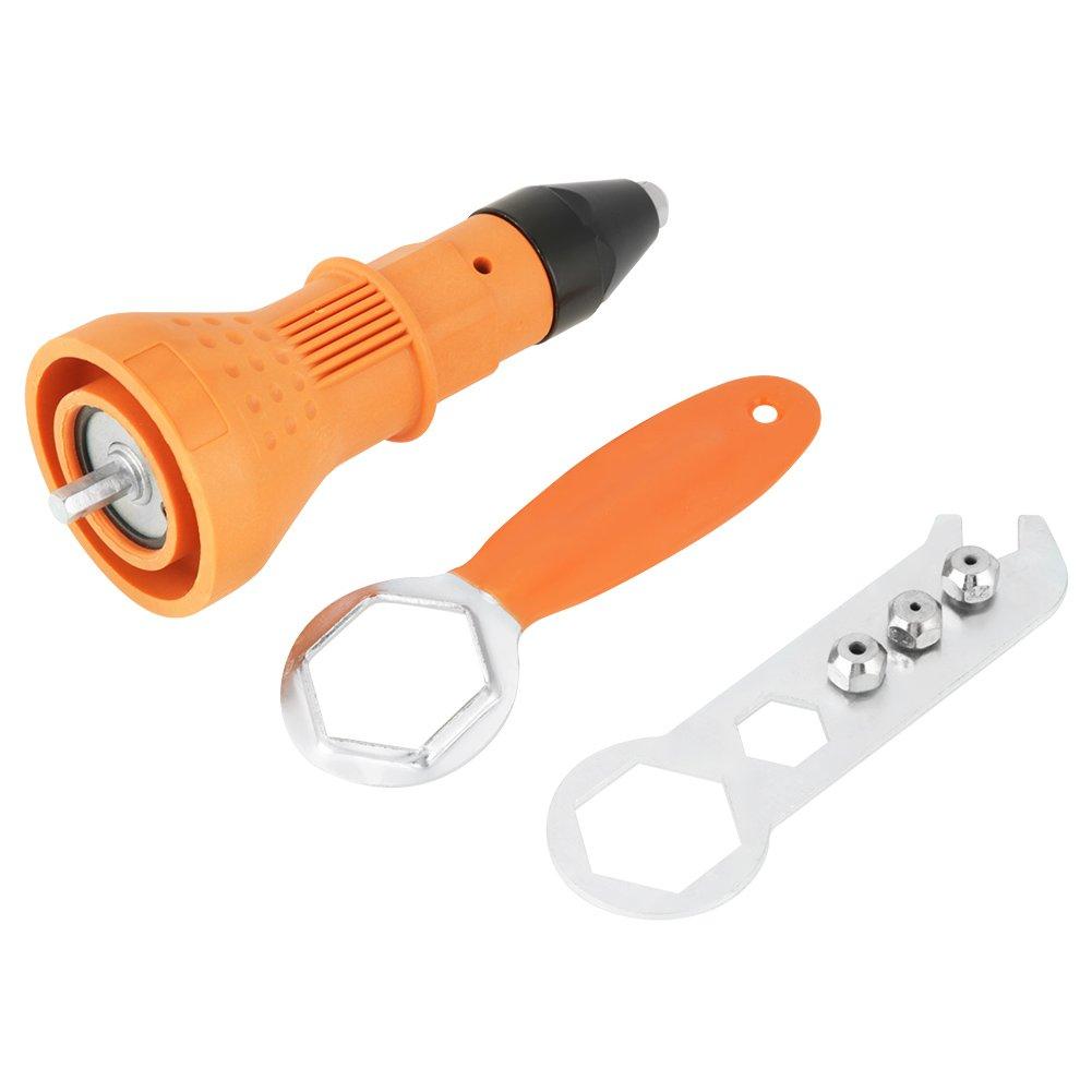 Kit rivetto pistola elettrica dado rivettatrice pistola trapano kit adattatore rivettatura strumento inserto dado accessori strumento di alimentazione a mano (arancione) Hilitand