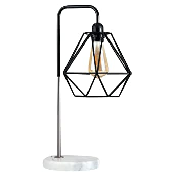 Attractive Retro Style Black / Chrome Metal U0026 White Marble Base Table Lamp   Complete  With A
