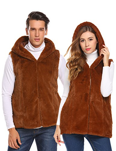 COOFANDY Unisex Sleeveless Faux Fur Vest Hooded Quilt-Lined Outwear Coats