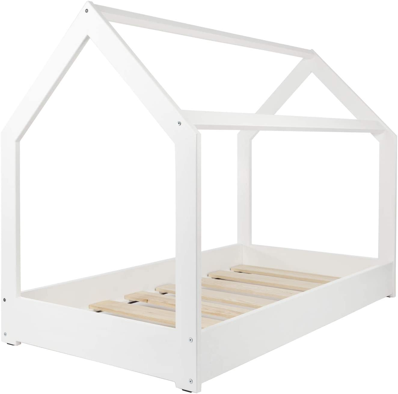 Solenzo – Cama para niños con somier (blanco, 90_x_190_cm)
