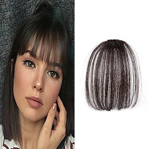LaaVoo Clip in Bangs Remy Hair Extensiones Pelo Natural Flequillo Postizo sin Templos Colores Negro Marron