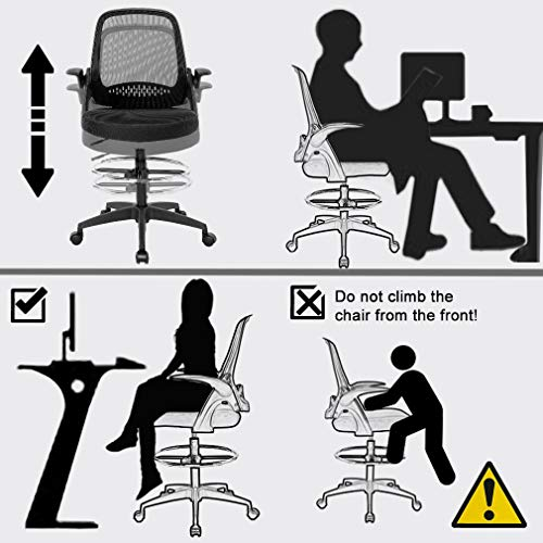 Ergonomic Mid-Back Mesh Drafting Chair with Lumbar Support Flip-Up Arms Desk Computer Adjustable Swivel Rolling Home Tall Office Chair for Women,Men by BestOffice (Image #3)