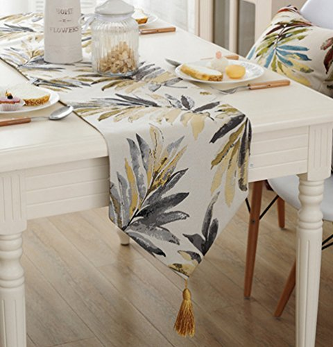 Various Sizes 100% Polyester ZebraSmile Leaves Table Runners