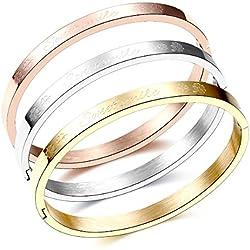 Set of 3 Tri-Color Silver/Gold/Rose Gold Letter and Flower Pattern Stainless Steel bangle bracelet set (3 Colors)