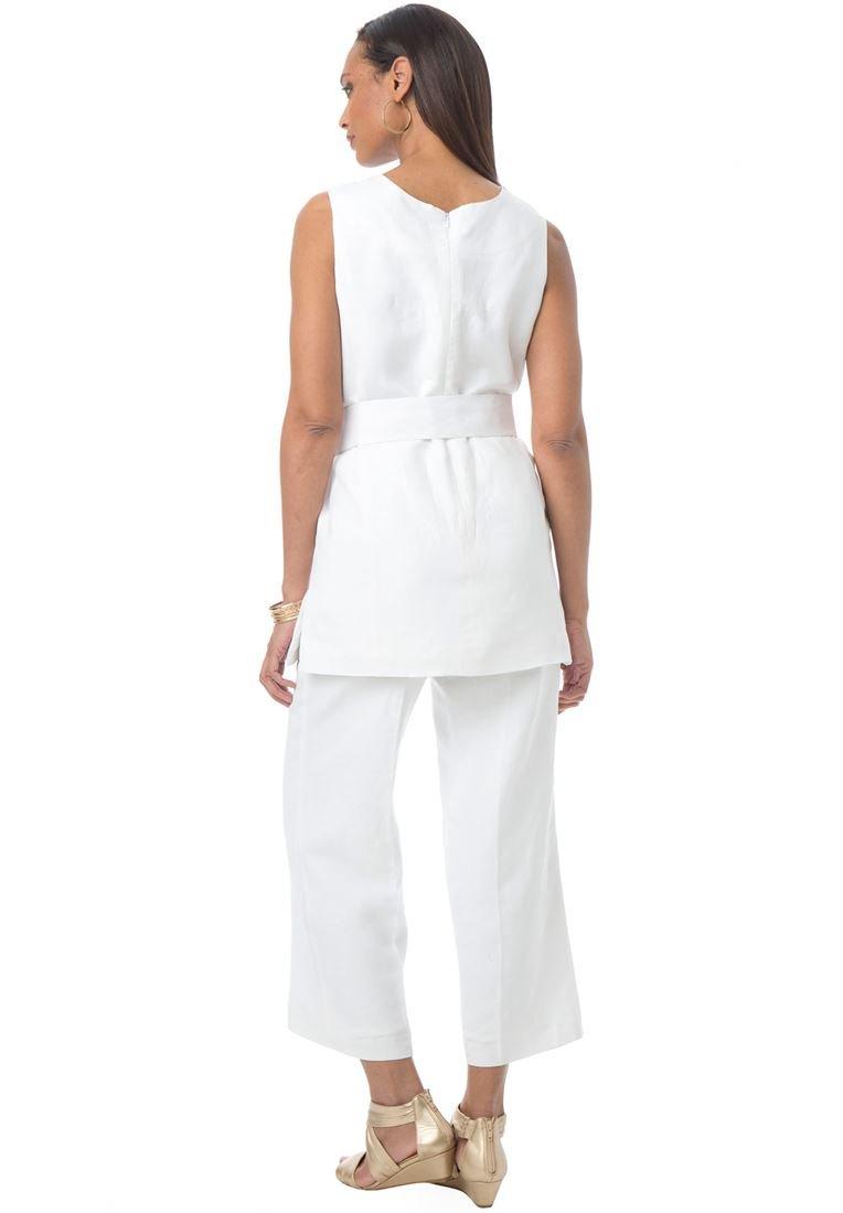 Jessica London Women's Plus Size Linen Blend Capri Set Coral Rose,12 by Jessica London (Image #3)
