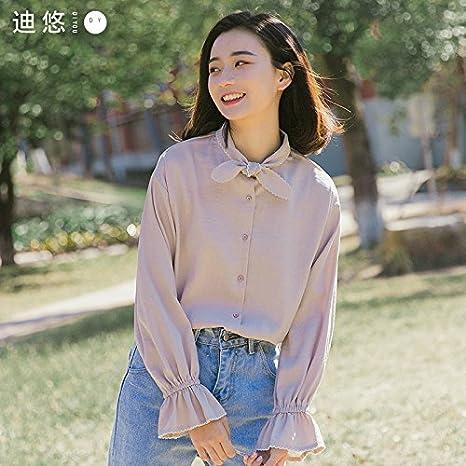 XXIN Amarre Camisetas Manga Larga Camisa Blanca de Mujeres ...