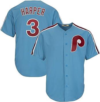 Camiseta de béisbol para hombre, Phillies # 3 Harper bordada de béisbol, versión de abanico, el mejor regalo: Amazon.es: Deportes y aire libre