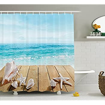 Beach Shower Curtain Set House Decor By Ambesonne, Wooden Pier With  Seashells Resort Sunshine Vacations