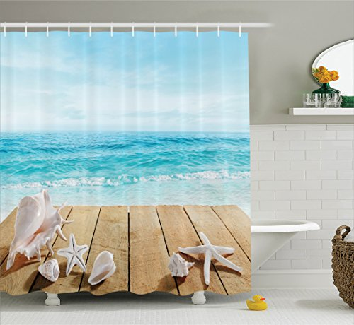 Seashells Decor Shower Curtain Set By Ambesonne, Wooden Boardwald With Seashells Resort Sunshine Vacations Maldives Deck Waves Beach Theme, Bathroom Accessories, 84 Inches Extralong (Beach Decor Seashell)