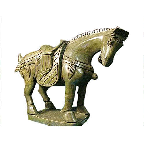 Jade Horse Statue (Jade Market Hong Kong Vintage Chinese Figurine Our Largest Green Jade Standing Horse)