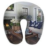 nuohaoshangmao Warm Fireplace Room Print U Shaped Pillow Memory