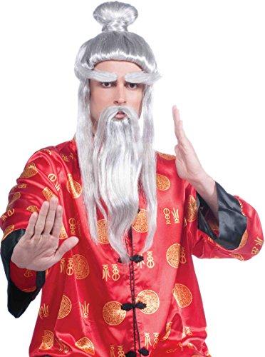 Asian Martial Arts Wig Set Gray/Silver ()