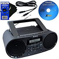 Sony Bluetooth & NFC (Near Field Communications) MP3 CD/CD-RW MEGA BASS Stereo Boombox with Digital Radio AM/FM tuner & USB Playback + Xtech Cleaner + Auxiliary Cable & HeroFiber Cleaning Cloth