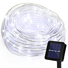Outdoor String Lights 100LED Solar Powered Waterproof Fairy Lights Landscape Lighting for Garden Patio Lawn Path Xmas Wedding Party Holiday Seasonal Decoration (White)