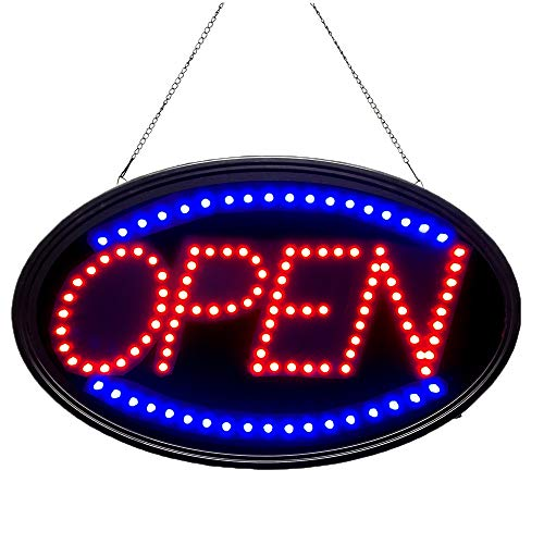 Bright LED Open Sign. WAENLIR 23x14inch Business Advertisement Board High Visibility Electric Display Sign,Two Modes Flashing&Steady Light for Business,Walls,Window,Shop,Bar,Hotel]()