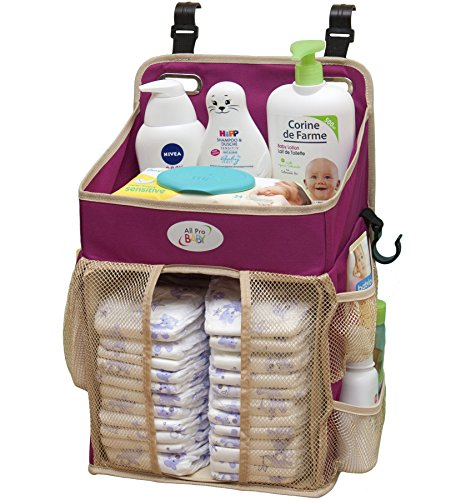 Baby-Diaper-Caddy-and-Nursery-Storage-Organizer-Hard-Plastic-Body-No-Sagging-with-Heavy-Items-Hooks-for-Hanging-on-Cribs-Small-Portable-Size-for-Travel-Neutral-Color-for-Boy-or-Girl-Purple