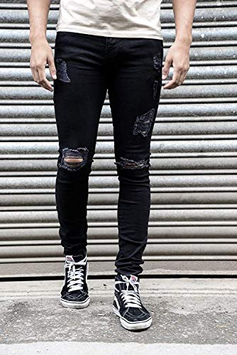 Fit Pantaloni Mid Stretch Vita Slim Strappato Straight Fashion R Casual Black1 Jeans Destroyed Giovane Skinny Denim Men's dqx6XCw