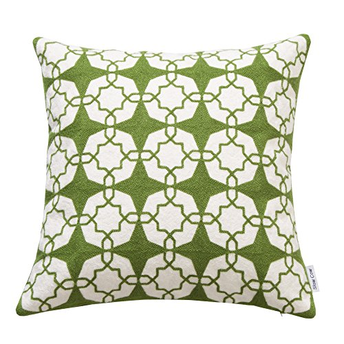 SLOW COW Cotton Embroidery Decorative Throw Pillow Cover, Zipper Farmhouse Decorative Pillow Throw Cushion Cover 18x18 Inches,Green.