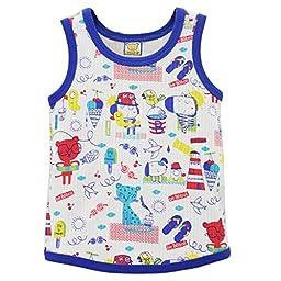Little Q Baby Pure Cotton Tops Toddler Vest Children Tees(Dark Blue,size 30/36M)