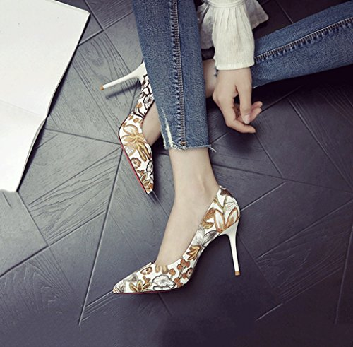 Sandals Shoes Mouth Summer Dream Embroidery Pointed Yellow Sexy Heel Heels Comfortable High Toe Stiletto Shallow Retro Pf7wqvPx6