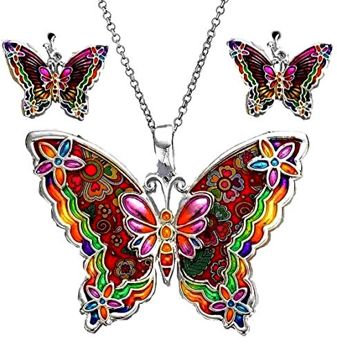 DianaL Boutique Silver Tone Beautiful Large Enameled Butterfly Pendant Necklace and Earrings Set with 24