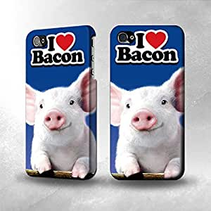 Apple iPhone 4 / 4S Case - The Best 3D Full Wrap iPhone Case - I Love Bacon Cute Baby Pig