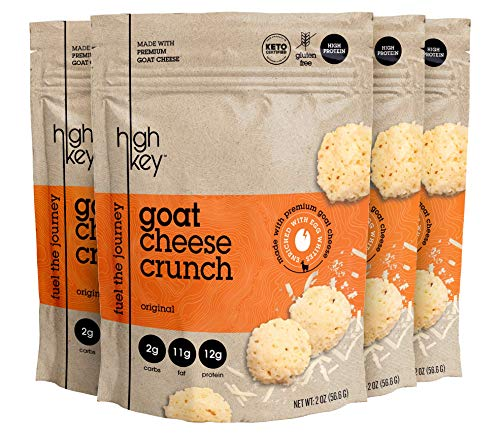HighKey Snacks Cheese Crunch - Goat Cheese & Egg White High Protein Cheese Crisps, Pack of 4, 2oz Bags - Keto Friendly, Gluten Free, Low Carb, Healthy Snack - Ketogenic Food with Natural Ingredients