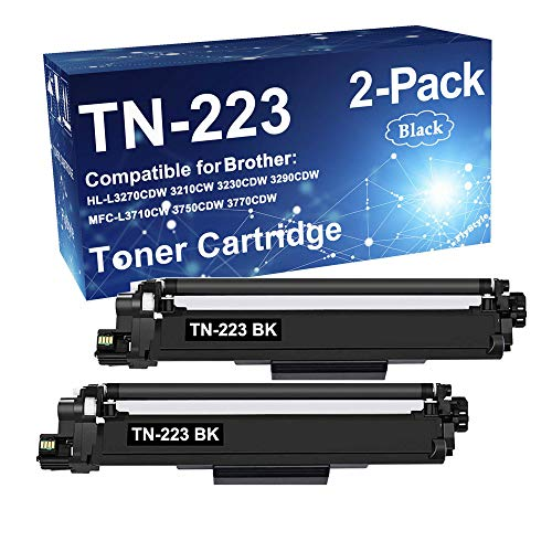 2-Pack (Black, High Yield) Compatible HL-L3290CDW Printer Cartridge Replacement for Brother TN-223 TN223BK Toner Cartridge Sold by FlyStyle